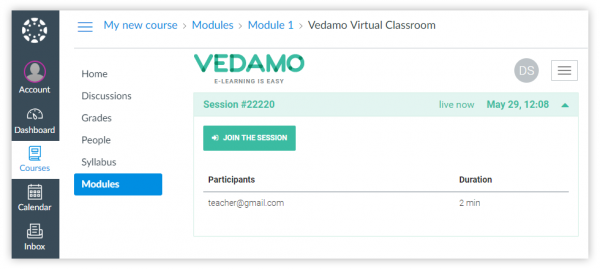 One of the steps as a student of entering Vedamo virtual classroom