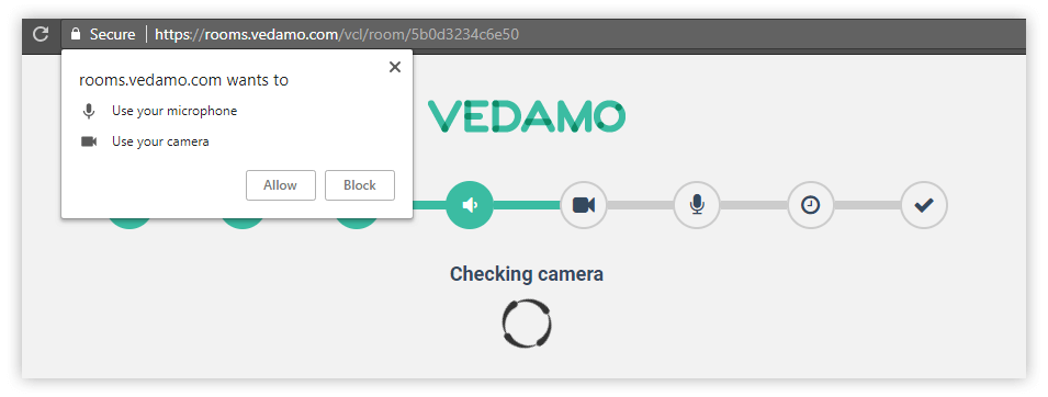 An image of the process of entering the Vedamo virtual classroom, know as system check