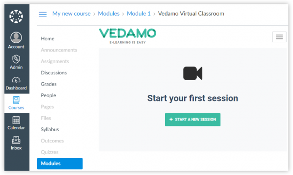 An window show first time, when you as a Teacher have the option to open a Vedamo Virtual classroom