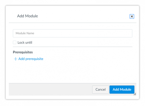 Add Module modal window