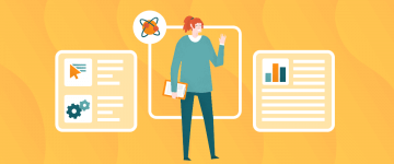 An image of a teacher around diagrams and tools, representing the process of building your online school and preparing materials for your online sessions