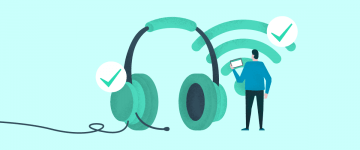 An image of man, wify symbol and headset in the context of how to teach English online for specific purposes