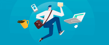 An image of running man with laptop and bag in the context of how to Demonstrate the advantages of the virtual classroom to your students