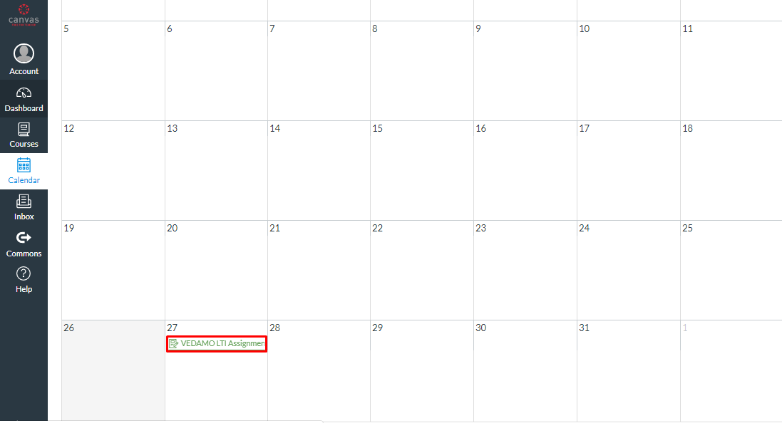 VEDAMO virtual classroom assignment in Canvas - calendar