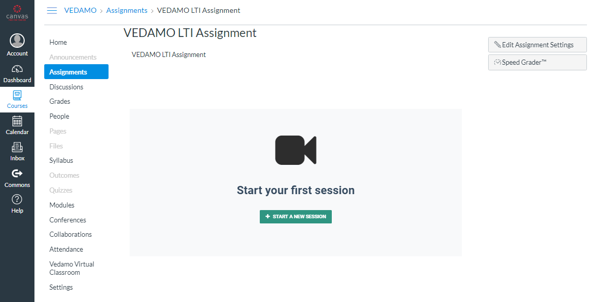 VEDAMO virtual classroom assignment in Canvas - Start your first session
