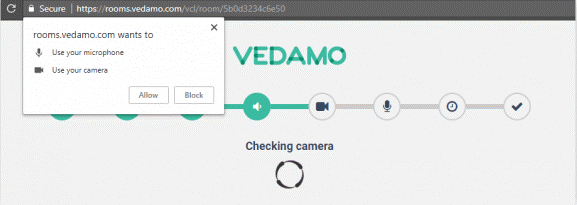 VEDAMO virtual classroom assignment in Canvas - Start your first session: Vedamo System Check