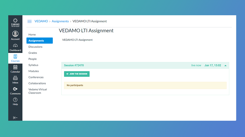 Join Virtual classroom as student from Canvas calendar: VEDAMO LTI Assignment