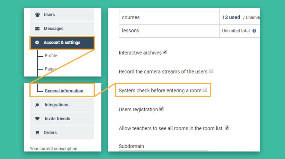 virtual classroom system check Settings