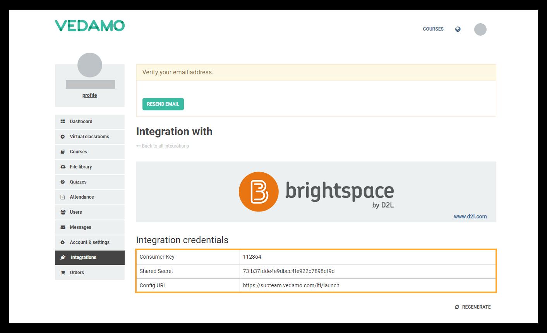 Integration credentials