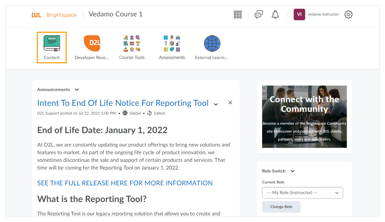 """How to use VEDAMO Virtual Classroom as an Instructor in Brightspace by D2L: you will have to select """"content"""" in order to proceed to the next step"""