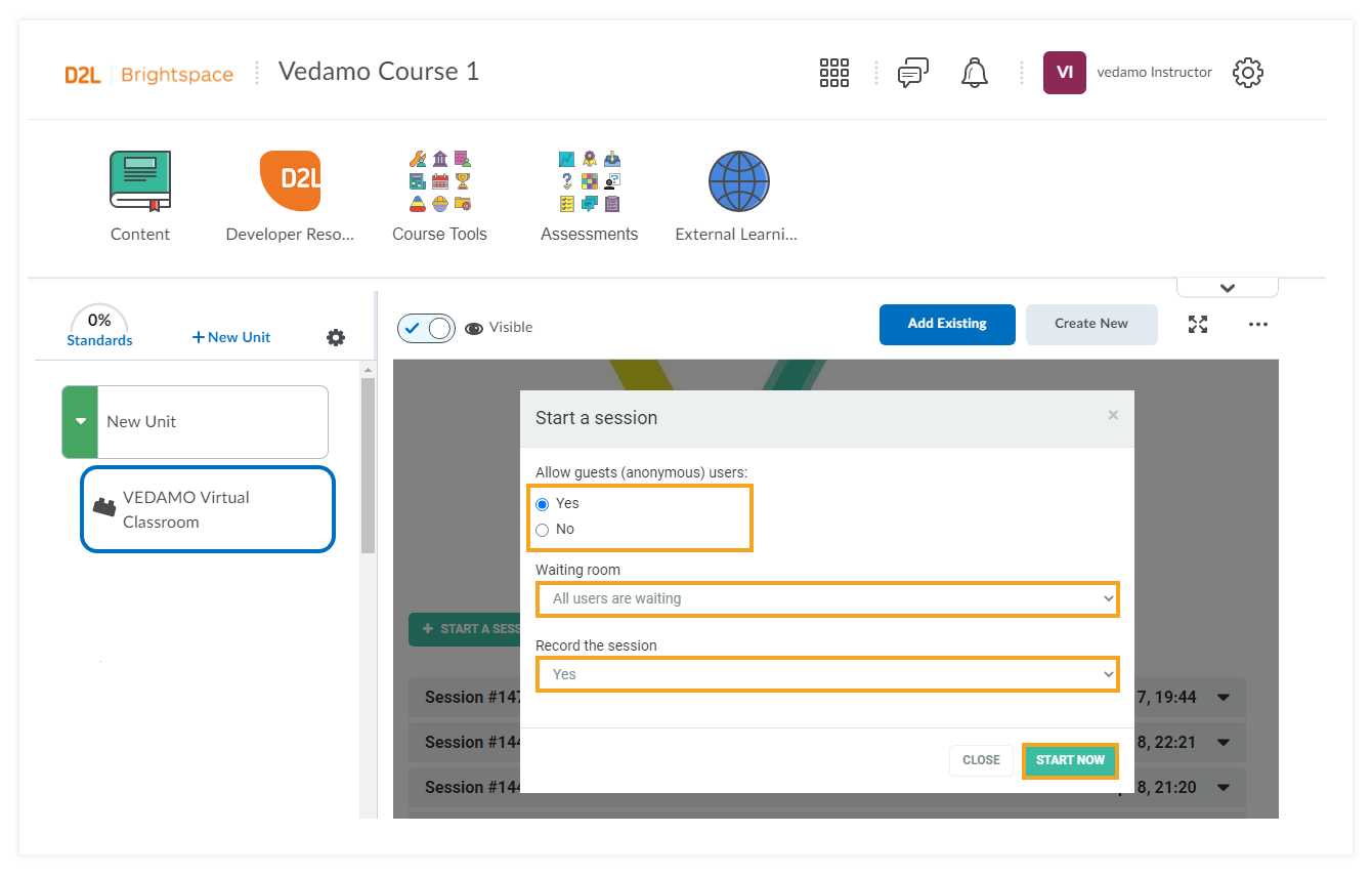 How to use VEDAMO Virtual Classroom as an Instructor in Brightspace by D2L: start a session/settings page