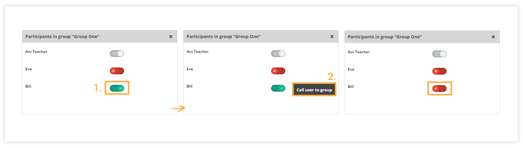 How to add, call, and remove participants from the group