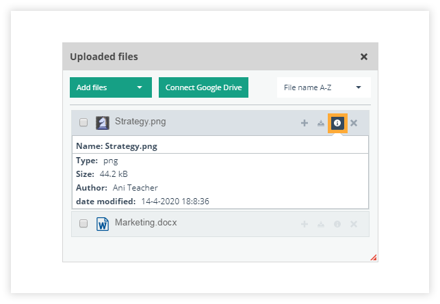Check the file info to see the info associated with the file itself