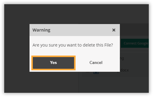 Click Yes to delete the file or No to keep it