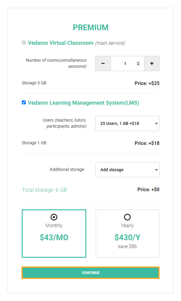 How to downgrade plan in VEDAMO: Select continue on this page
