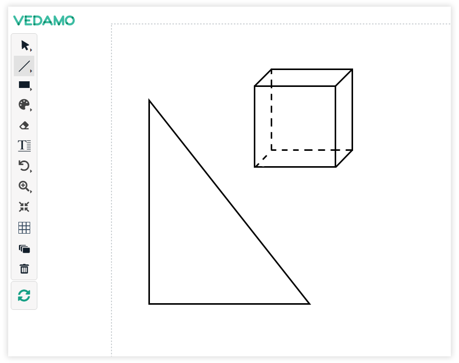 Use the line tool for creating geometric figures