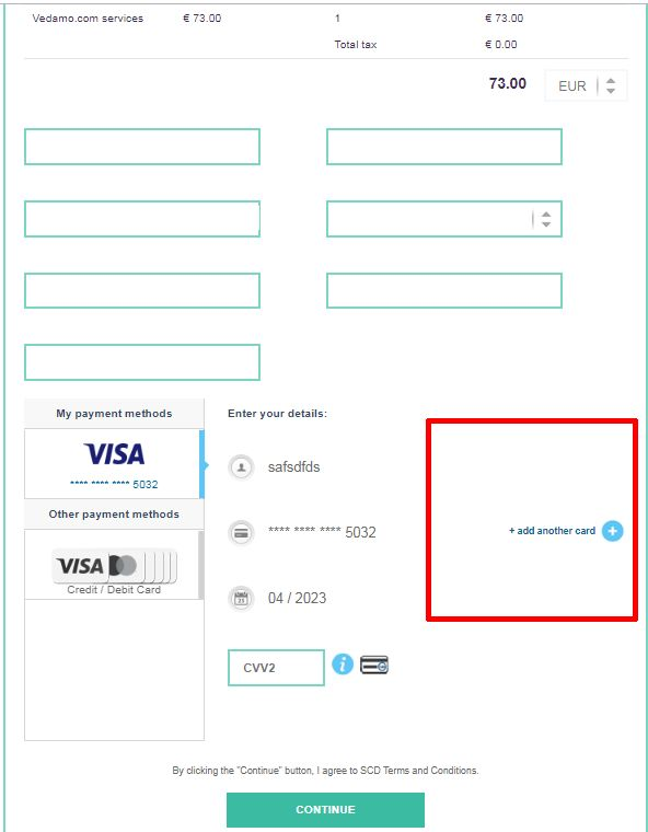 How to change my credit card details in VEDAMO billing - Add new card