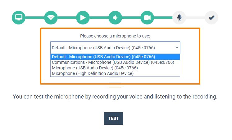 Virtual Classroom - System Check: Microphone - Change your microphone