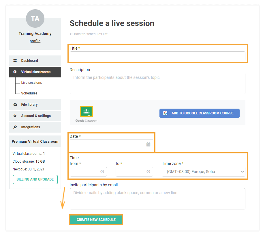 Schedules for Virtual Classrooms: Schedules creation page