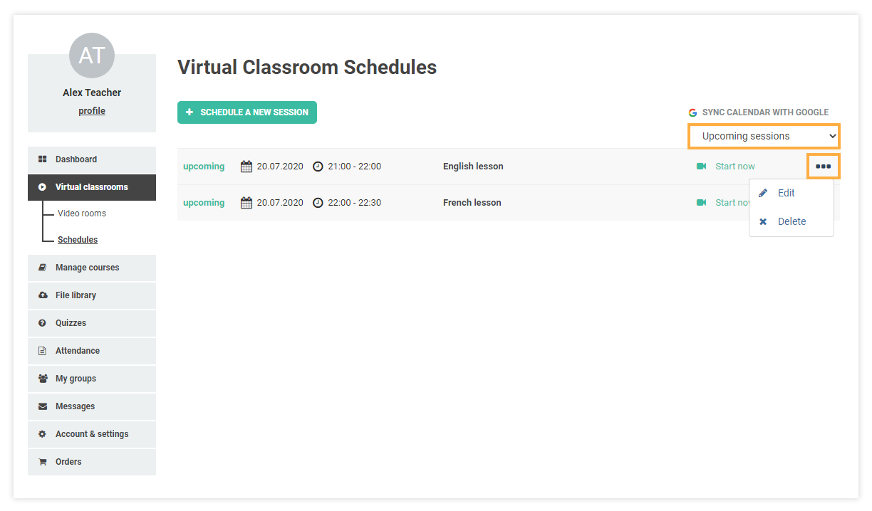 Schedules for Virtual Classrooms: Upcoming sessions Delete/Edit