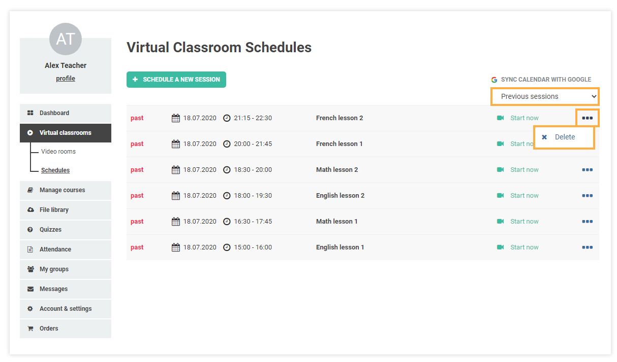 Schedules for Virtual Classrooms: Past sessions and delete option