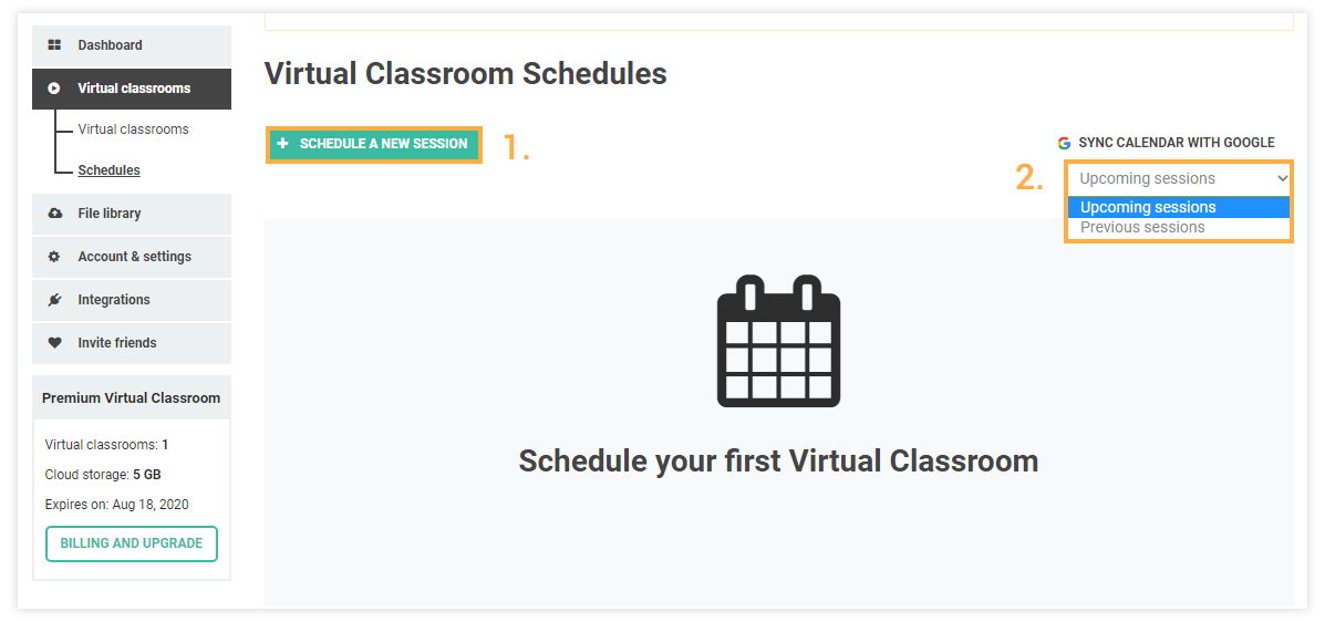 Schedules for Virtual Classrooms: Schedule a new lesson/past and upcoming lessons menu