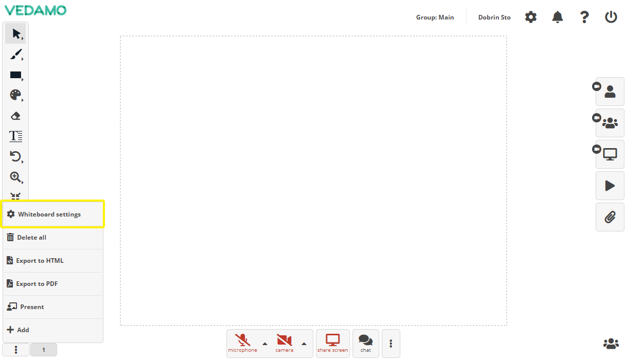 Online Whiteboard Settings menu