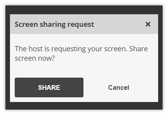 Individual video and Screen Share in the Virtual Classroom: Accepting Screen Share