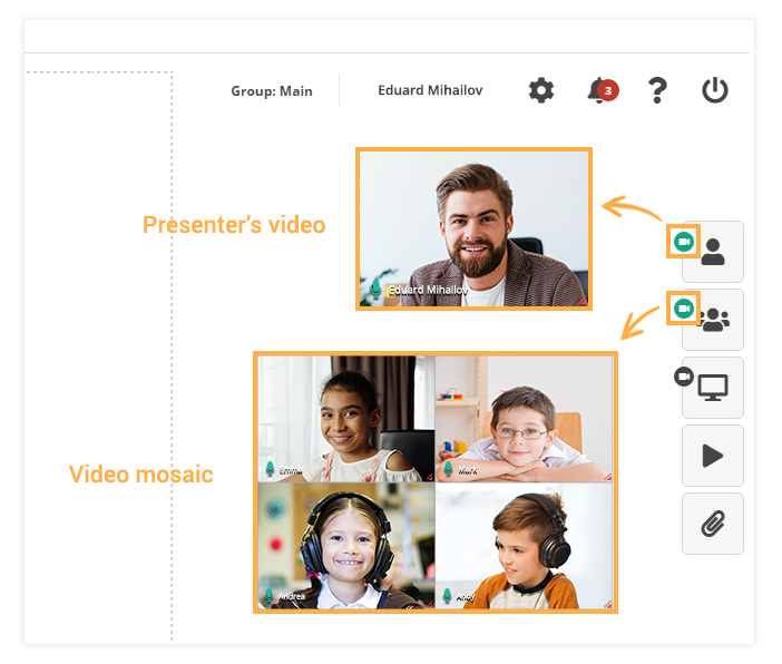 Camera Controls in the virtual classroom: Individual and Mosaic videos in the virtual classroom
