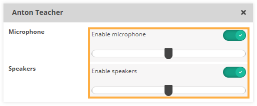 Sound Controls in the virtual classroom: Participant individual settings