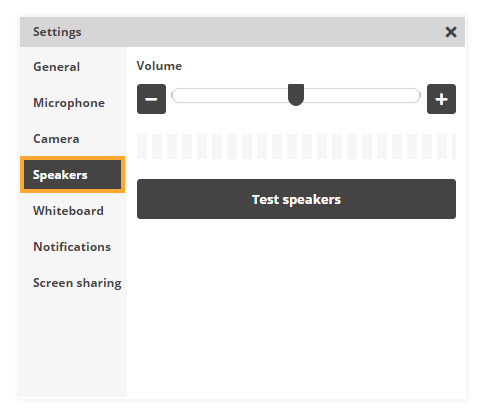 Sound Controls in the virtual classroom: Speakers Settings