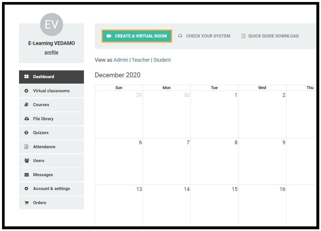 The Create a Virtual Room button allows you to open a new Virtual Classroom
