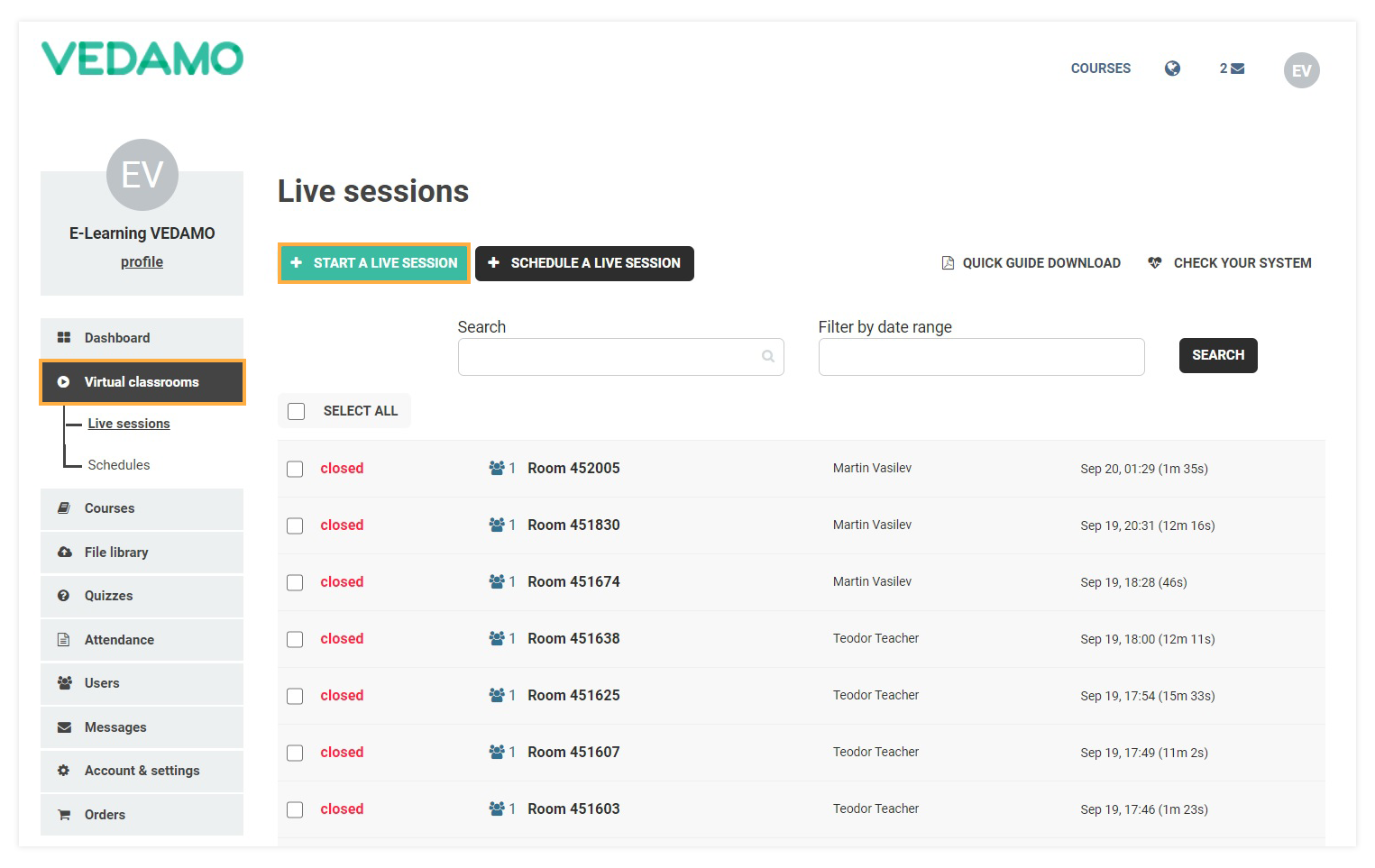 Start a Live Session allows you to create a new Virtual Classroom