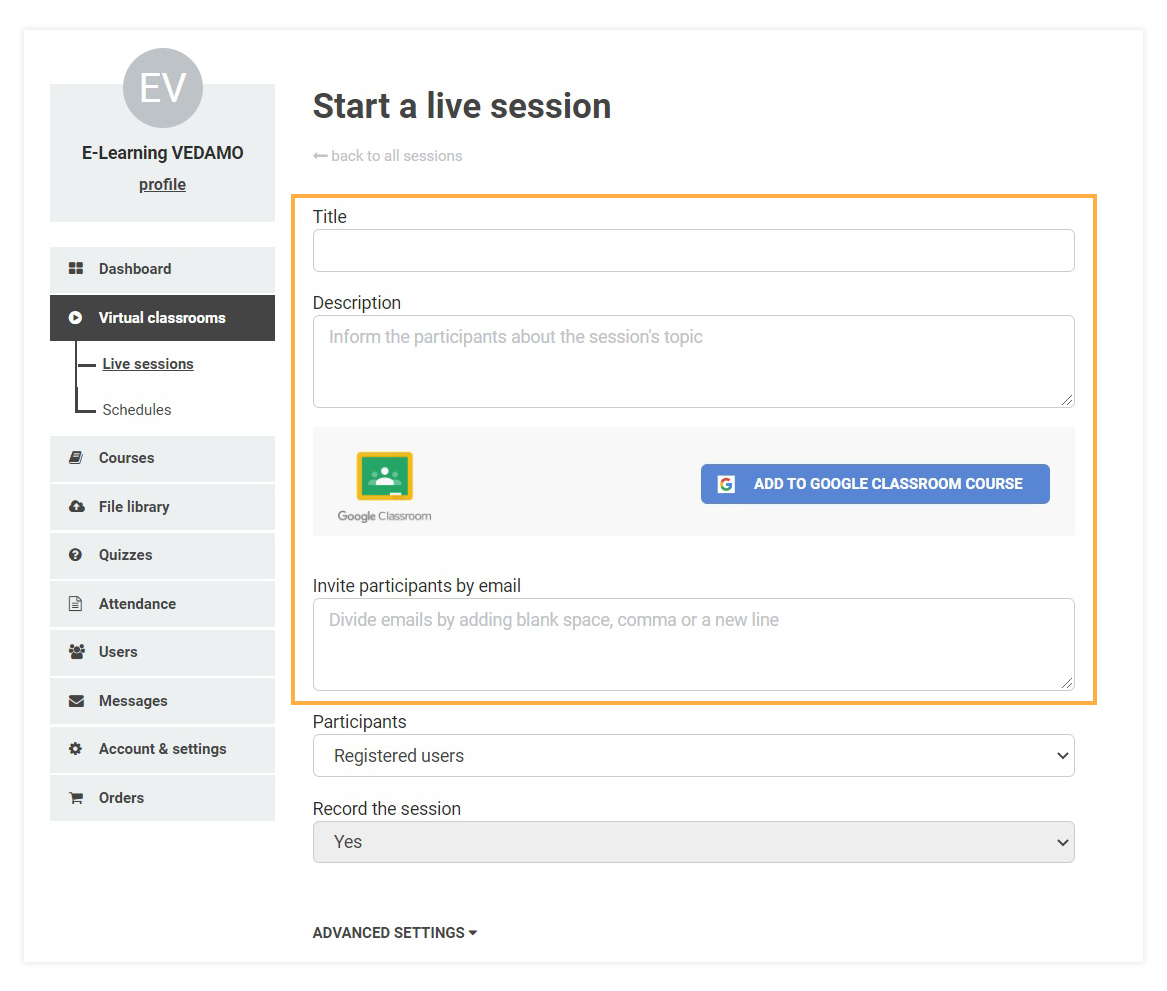 You can customize your Virtual Classroom while opening it