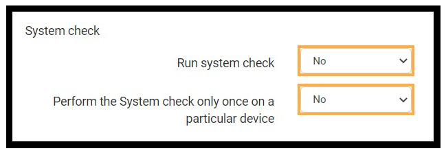 Virtual Classroom Advanced Settings: System Check settings