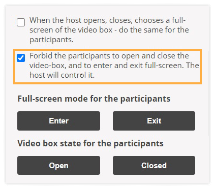 Video Boxes Settings: Forbid the participants to open and close the video-box