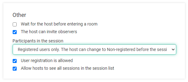 Virtual classroom settings as an Organization