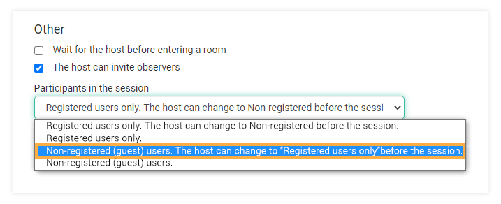 Virtual classroom settings: Non-registered (guest) users. The host can change to Registered users only before the session.