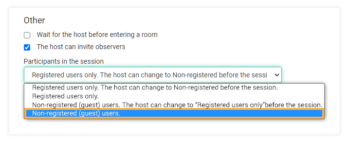 Virtual classroom settings: Non-registered (guest) users