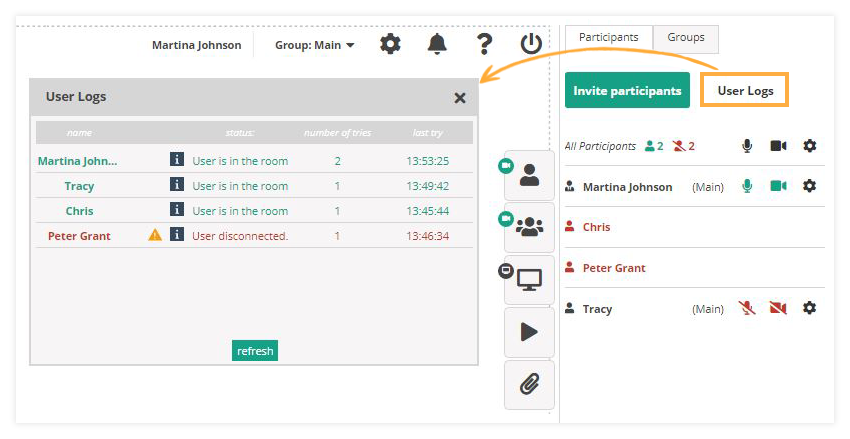 Participant Controls in the Virtual Classroom: User Logs in the Virtual Classroom