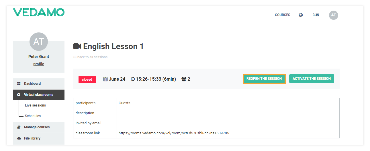 """How to Reopen a Virtual Classroom: If you select the lesson that you want to reopen, the """"reopen"""" button will be visible."""