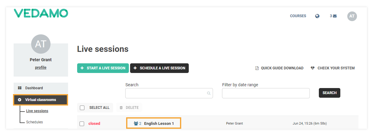 """How to Reopen a Virtual Classroom: By pressing the """"Virtual classrooms"""" button you will see the list with past sessions"""