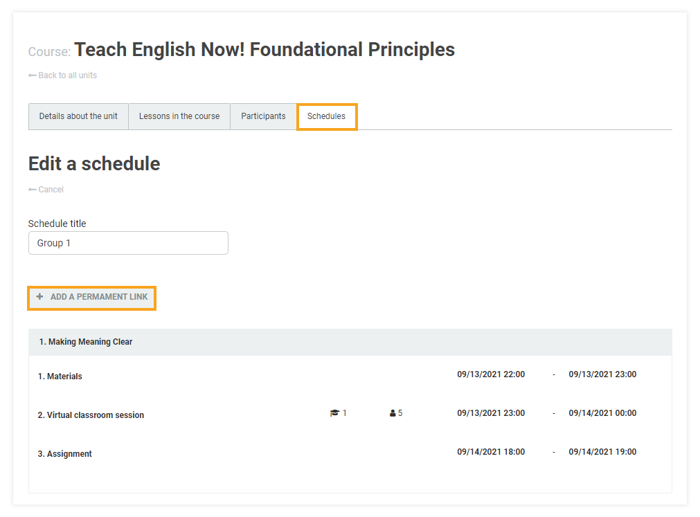 Permanent Links in the VEDAMO platform: adding a permanent link to a course schedule