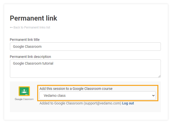 Permanent Links in the VEDAMO platform: Add Google classroom option