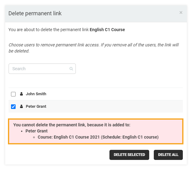Permanent Links in the VEDAMO platform: notification that the permanent link can not be deleted as the host is still participating in the course