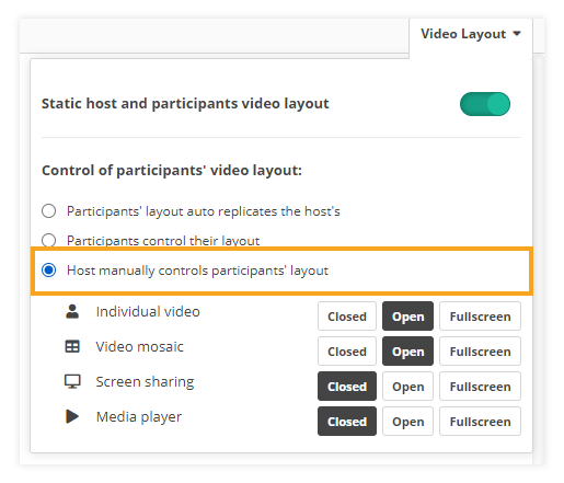 Video layout & Control of participants' video layout in VEDAMO Virtual Classroom: Full manual control by the host