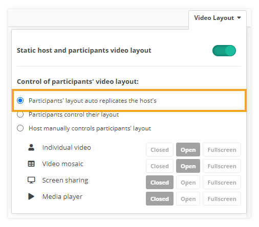 Video layout & Control of participants' video layout in VEDAMO Virtual Classroom: Auto replicate layout functionality