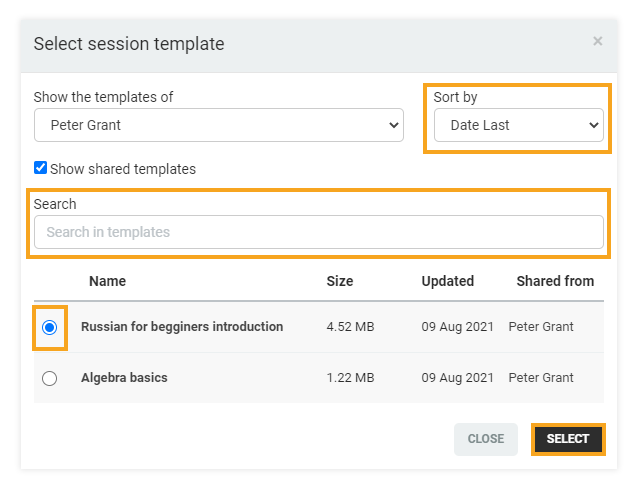 Permanent Links in the VEDAMO platform: When selecting a template you can use the search option as well as the sort filters