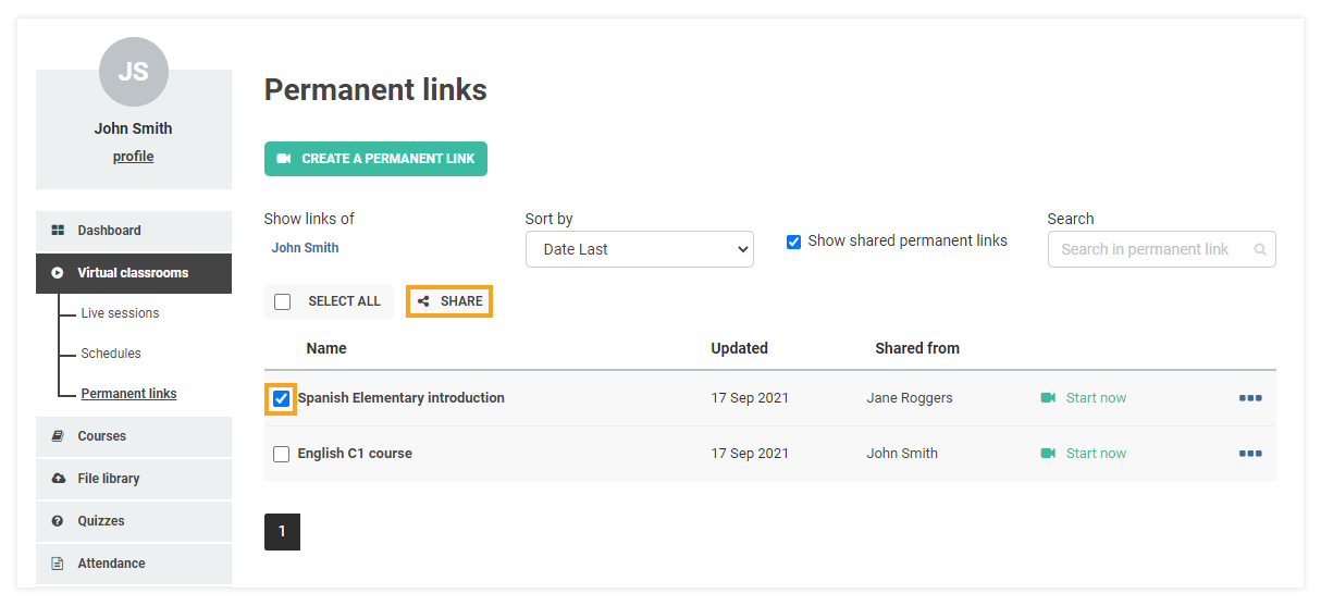 Permanent Links in the VEDAMO platform: after you have ticked the correct box next to the permanent link the share option can be used