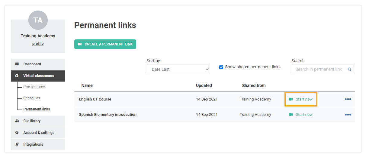 Permanent Links in the VEDAMO platform: You can start a permanent link session from the Start now button